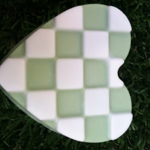 close up checkered heart soap bar