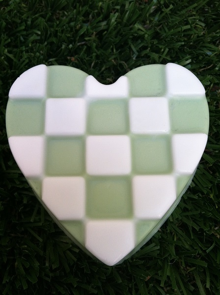 close up checkered heart soap bar